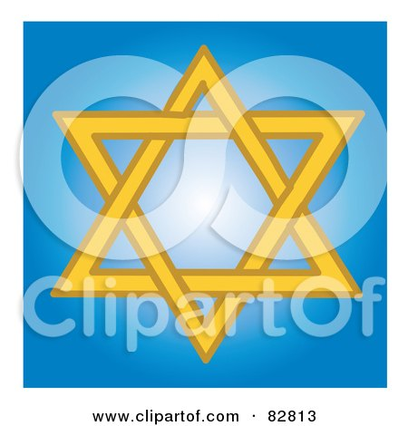 Royalty-Free (RF) Clipart Illustration of a Yellow Star Of David In A Blue Shining Square by Pams Clipart