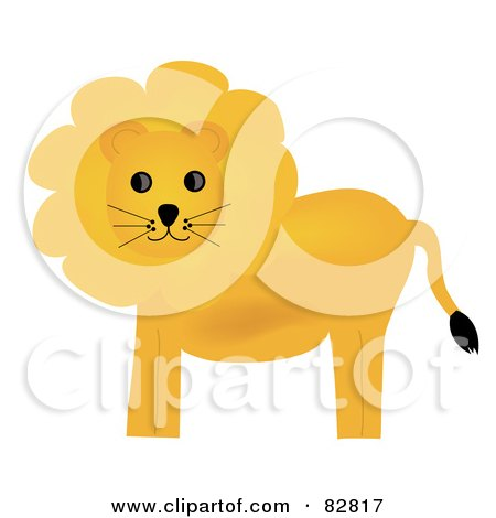 Royalty-Free (RF) Clipart Illustration of a Golden Lion With A Fluffy Mane by Pams Clipart