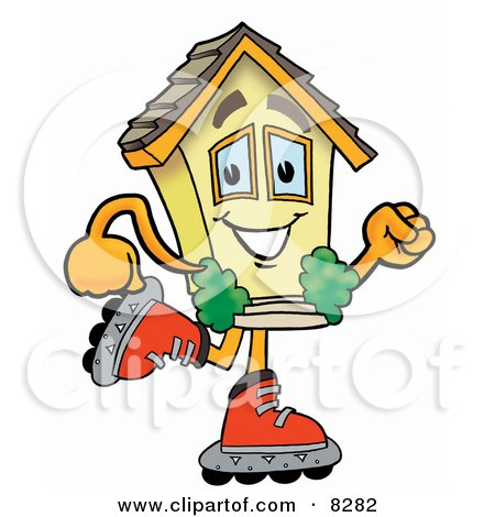 Clipart Picture of a House Mascot Cartoon Character Roller Blading on Inline Skates by Toons4Biz