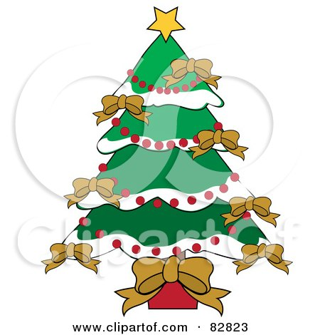 Royalty-Free (RF) Clipart Illustration of a Christmas Tree Adorned In Gold Bows, Red Bead Garlands And Flocked Branches by Pams Clipart