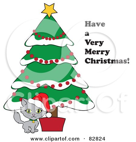 Royalty-Free (RF) Clipart Illustration of a Have A Very Merry Christmas Greeting By A Kitten Under A Christmas Tree by Pams Clipart