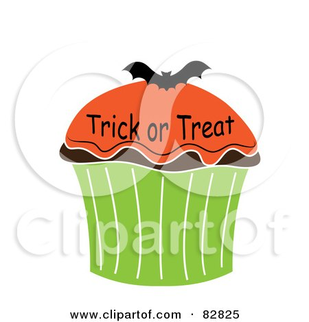 Royalty-Free (RF) Clipart Illustration of a Trick Or Treat Halloween Cupcake With Orange Frosting And A Bat by Pams Clipart