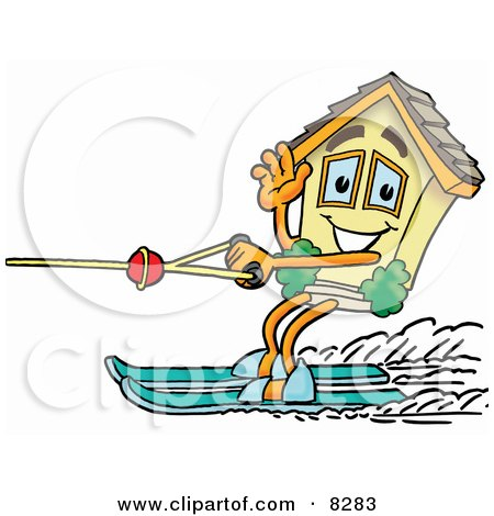 Clipart Picture of a House Mascot Cartoon Character Waving While Water Skiing by Toons4Biz
