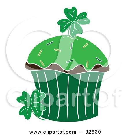 Royalty-Free (RF) Clipart Illustration of a St Patrick's Day Cupcake With Green Frosting, Sprinkles And Clovers by Pams Clipart