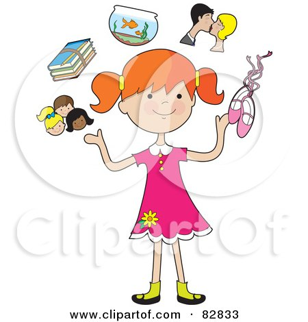 Royalty-Free (RF) Clip Art Illustration of a Happy Red Haired Girl Juggling Her Friends, School Books, Goldfish, Parents And Ballet Slippers by Maria Bell