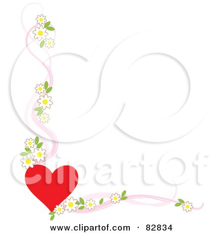 Royalty-Free (RF) Clipart Illustration of a White Background Bordered With A Red Heart And Apple Blossoms With Pink Ribbons by Maria Bell