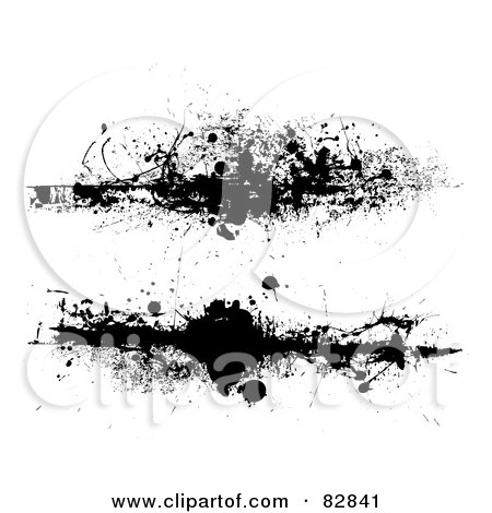 Royalty-Free (RF) Clipart Illustration of a Digital Collage Of Two Drag Grungy Splatters by michaeltravers