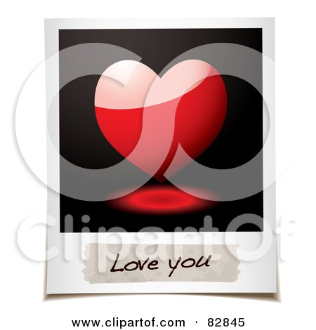Royalty-Free (RF) Clipart Illustration of a Polaroid Picture Of A Shiny 3d Heart And A Message Reading Love You by michaeltravers