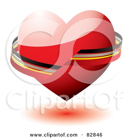 Royalty-Free (RF) Clipart Illustration of a Black, Gray, Yellow And Red Ribbon Around A Shiny 3d Red Heart by michaeltravers