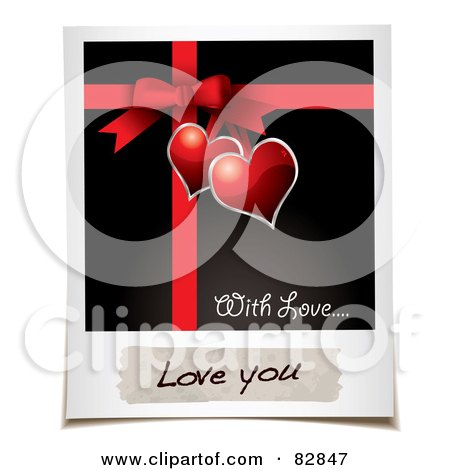 Royalty-Free (RF) Clipart Illustration of a Polaroid Picture Of A Present Bow And Ribbons With Hearts And A Message Reading Love You by michaeltravers