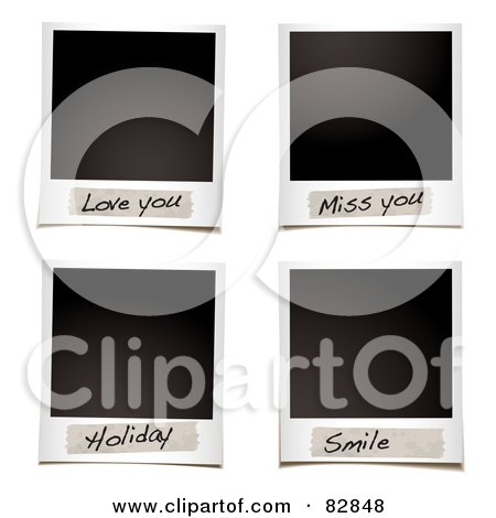Royalty-Free (RF) Clipart Illustration of a Digital Collage Of Blank Instant Photos With Love You, Miss You, Holiday And Smile Messages by michaeltravers