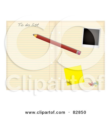 Royalty-Free (RF) Clipart Illustration of a Pencil, Polaroid, Sticky Note And Paperclips On A To Do List In A Notebook by michaeltravers