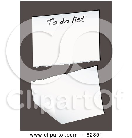 Royalty-Free (RF) Clipart Illustration of a Torn To Do List Page On Brown by michaeltravers