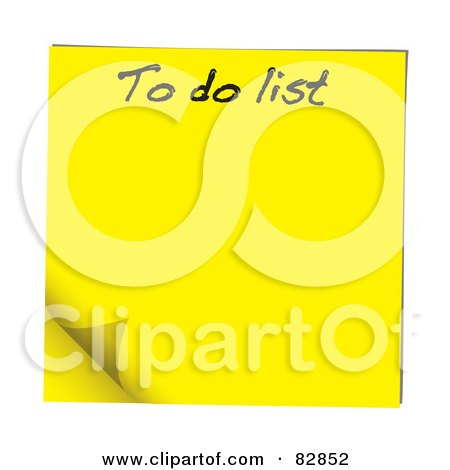 Royalty-Free (RF) Clipart Illustration of a Turning Yellow To Do List Sticky Note by michaeltravers