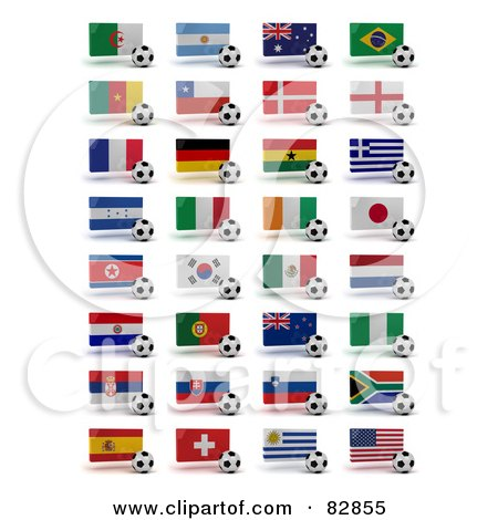 Royalty-Free Clipart Illustration of a Digital Collage Of Soccer World Cup 2010 Participating Countries With Balls And National Flags by stockillustrations