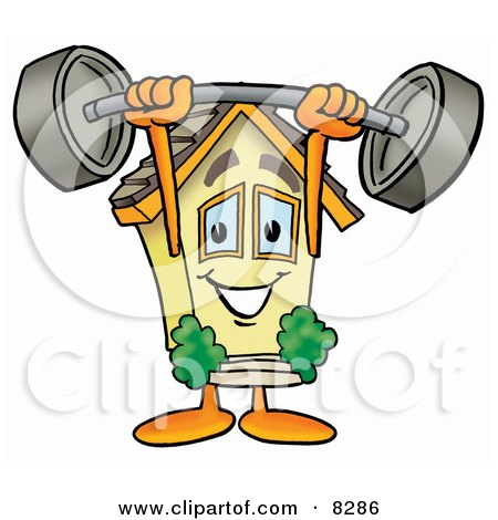 Clipart Picture of a House Mascot Cartoon Character Holding a Heavy Barbell Above His Head by Toons4Biz