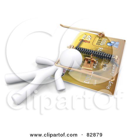 Royalty-Free (RF) Clipart Illustration of a 3d White Man Trapped In A Predatory Lending And Credit Danger Credit Card Trap by Leo Blanchette