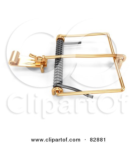 Royalty-Free (RF) Clipart Illustration of a 3d Mouse Trap Ready To Spring by Leo Blanchette
