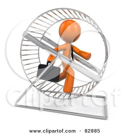 3d Orange Businessman Running In A Hamster Wheel Posters, Art Prints