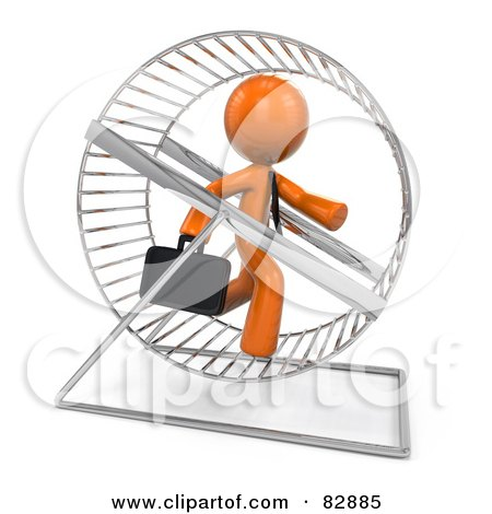 Royalty-Free (RF) Clipart Illustration of a 3d Orange Businessman Running In A Hamster Wheel by Leo Blanchette