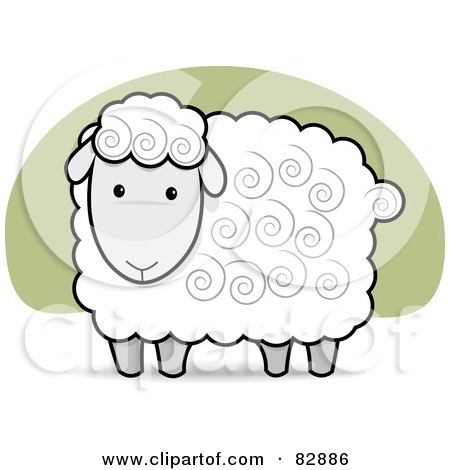 Royalty-Free (RF) Clipart Illustration of a Cute White And Gray Sheep With Swirls In His Hair by Qiun