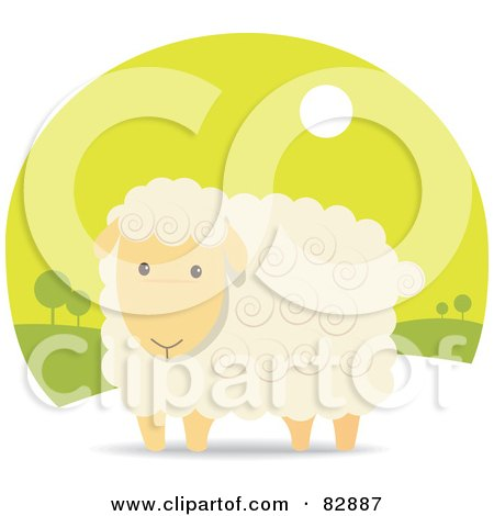 Royalty-Free (RF) Clipart Illustration of an Adorable Beige Sheep With Swirls In His Hair, In A Green Landscape by Qiun