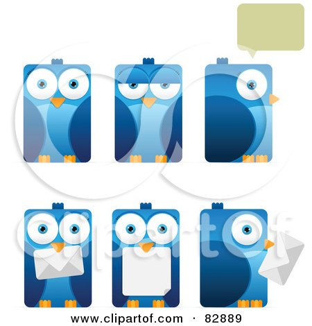 Digital Collage Of Six Rectangular Blue Birds With Envelopes, Chat Balloons And Different Expressions Posters, Art Prints