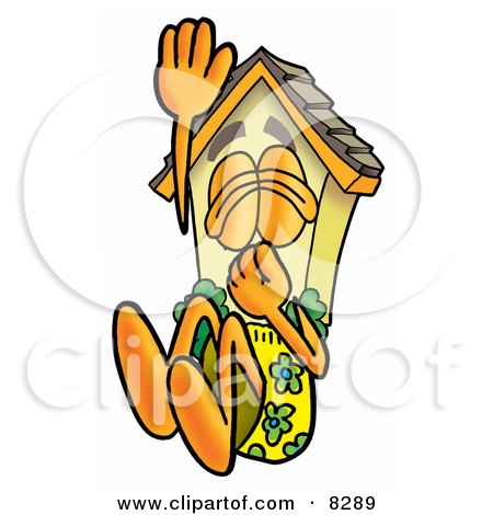 Clipart Picture of a House Mascot Cartoon Character Plugging His Nose While Jumping Into Water by Toons4Biz