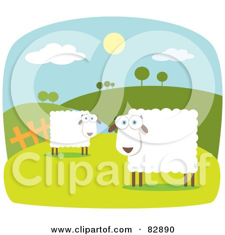 Royalty-Free (RF) Clipart Illustration of Two Square Bodied Sheep In A Pasture Near Rolling Hills, With White Borders by Qiun