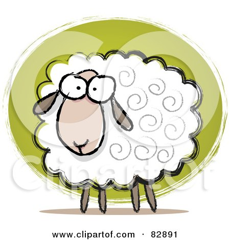 Royalty-Free (RF) Clipart Illustration of a Pleasant Sketched Sheep With Swirls In His Hair by Qiun