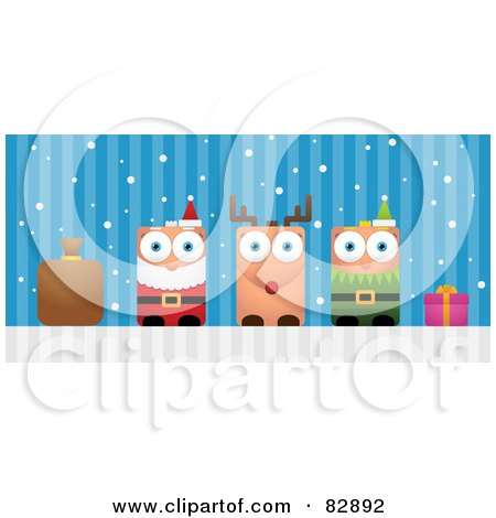 Royalty-Free (RF) Clipart Illustration of a Blocky Sack, Santa, Rudolph The Red Nosed Reindeer, Elf And Present by Qiun