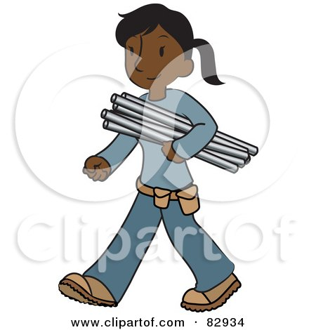 Royalty-Free (RF) Clipart Illustration of a Female Indian Plumber Walking And Carrying Pipes by Rosie Piter