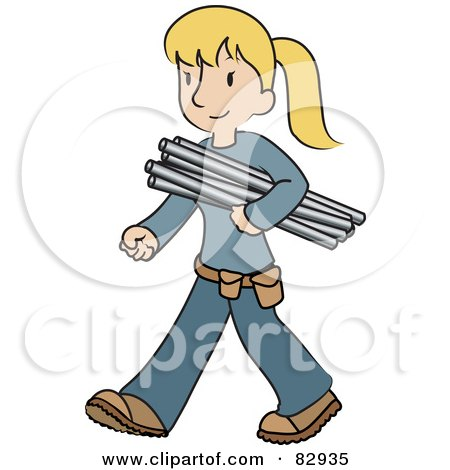 Royalty-Free (RF) Clipart Illustration of a Female Caucasian Plumber Walking And Carrying Pipes by Rosie Piter