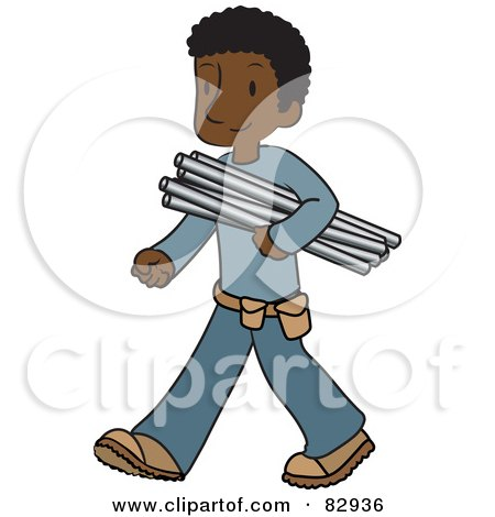 Male African American Plumber Walking And Carrying Pipes Posters, Art Prints