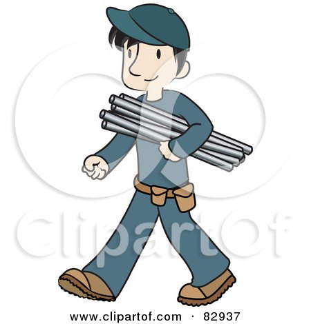 Royalty-Free (RF) Clipart Illustration of a Male Caucasian Plumber Walking And Carrying Pipes by Rosie Piter