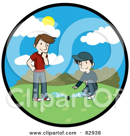Royalty-Free (RF) Clipart Illustration of a Circle Scene Of Two Caucasian Men, A Landscaper And Homeowner, Discussing The Newly Installed Irrigation Sprinkler System In A Yard by Rosie Piter