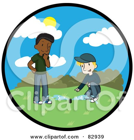 Royalty-Free (RF) Clipart Illustration of a Circle Scene Of A Caucasian Landscaper Discussing The Newly Installed Irrigation Sprinkler System With A Black Man by Rosie Piter