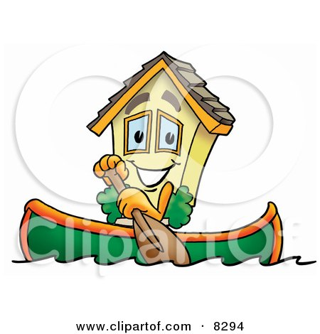Clipart Picture of a House Mascot Cartoon Character Rowing a Boat by Toons4Biz