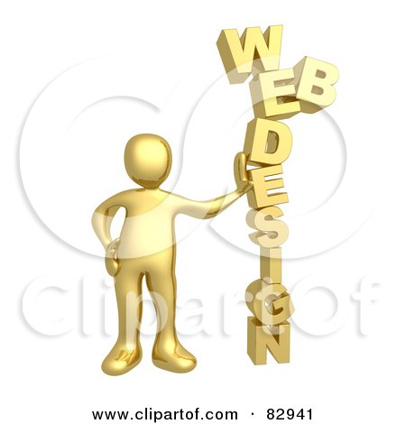 Royalty-Free (RF) Clipart Illustration of a 3d Golden Person Leaning Against The Words WEB DESIGN by 3poD