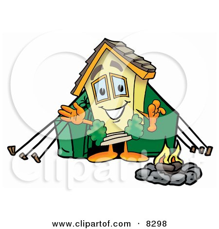 Clipart Picture of a House Mascot Cartoon Character Camping With a Tent and Fire by Toons4Biz