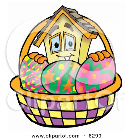 Clipart Picture of a House Mascot Cartoon Character in an Easter Basket Full of Decorated Easter Eggs by Toons4Biz