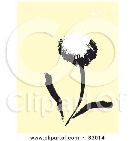 Royalty-Free (RF) Clipart Illustration of a Black And White Painted Dandelion Over Beige by xunantunich