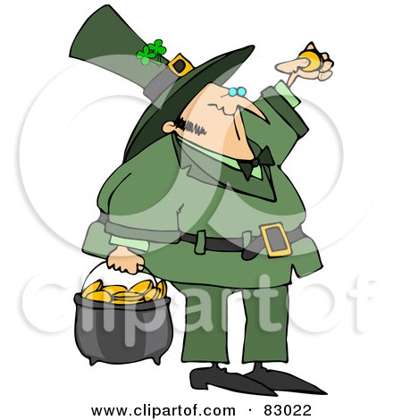 Royalty-Free (RF) Clipart Illustration of a St Patrick's Day Leprechaun Inspecting A Gold Coin And Carrying A Pot Of Gold by djart