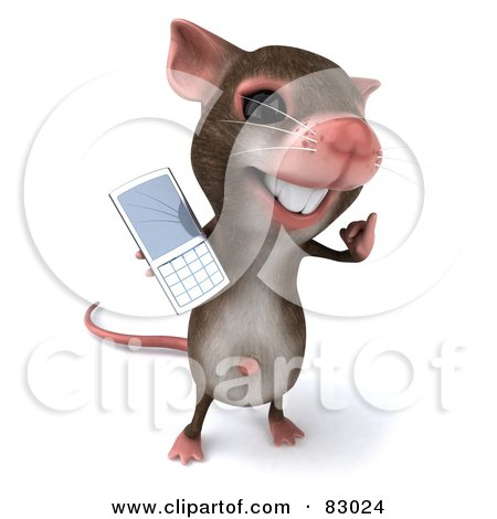 Royalty-Free (RF) Clipart Illustration of a 3d Mouse Character Holding Out His Cell Phone by Julos