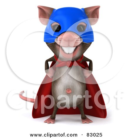 Royalty-Free (RF) Clipart Illustration of a 3d Mouse Character Super Hero Facing Front by Julos