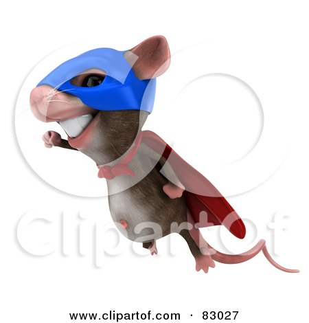 Royalty-Free (RF) Clipart Illustration of a 3d Mouse Character Super Hero Smiling in Flight by Julos