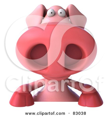Royalty-Free (RF) Clipart Illustration of a 3d Pookie Pig Character Smiling Over A Blank Sign by Julos