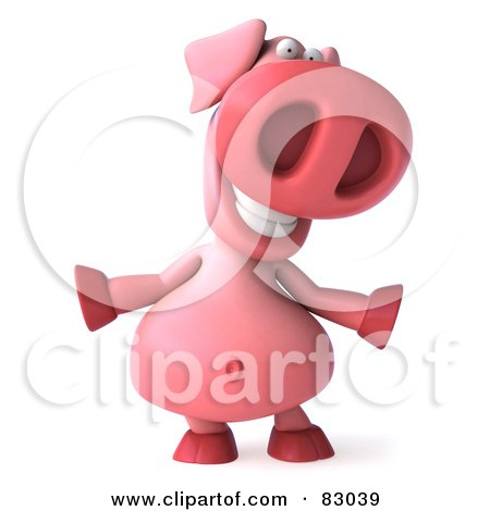 Royalty-Free (RF) Clipart Illustration of a 3d Pookie Pig Character Facing Front And Dancing by Julos
