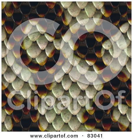 Royalty-Free (RF) Clipart Illustration of a Seamless Snake Skin Scale Patterned Background by Arena Creative