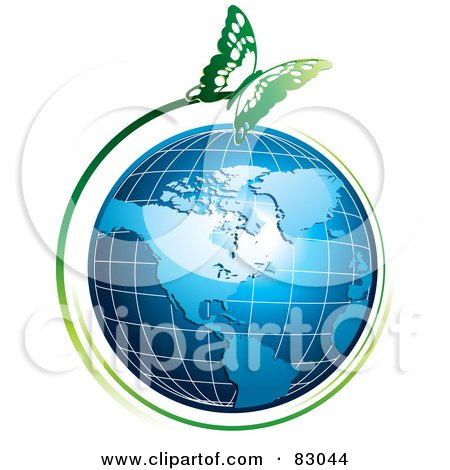 Royalty-Free (RF) Clipart Illustration of a Green Butterfly Flying Around An American Globe by MilsiArt